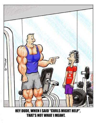 funny fitness cartoons Curls   uginanie, loki